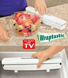 Wraptastic plastic wrap cutter for cutting boxes